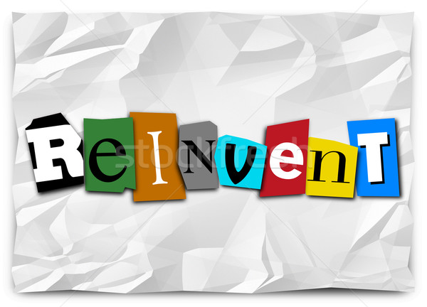 Reinvent Word Cut Out Letters Redo Refresh Rethink Stock photo © iqoncept