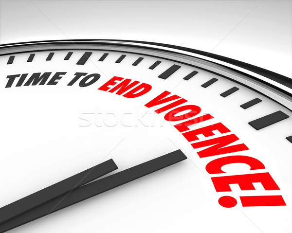 Time to End Violence Words Clock Protest Negotiate End War Stock photo © iqoncept