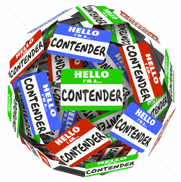 Contender Word Name Badge Tag Sphere Compete Job WIn Game Stock photo © iqoncept