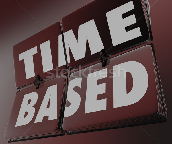 Time Based Words Clock Retro Tiles Flipping Measure Results Stock photo © iqoncept