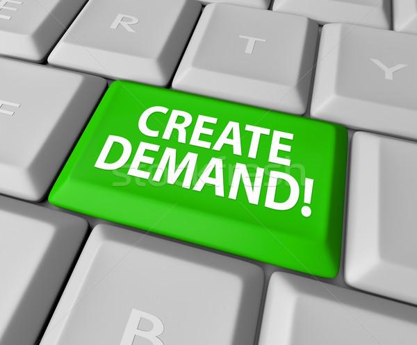 Nachfrage Computer-Tastatur online Business bauen Stock foto © iqoncept