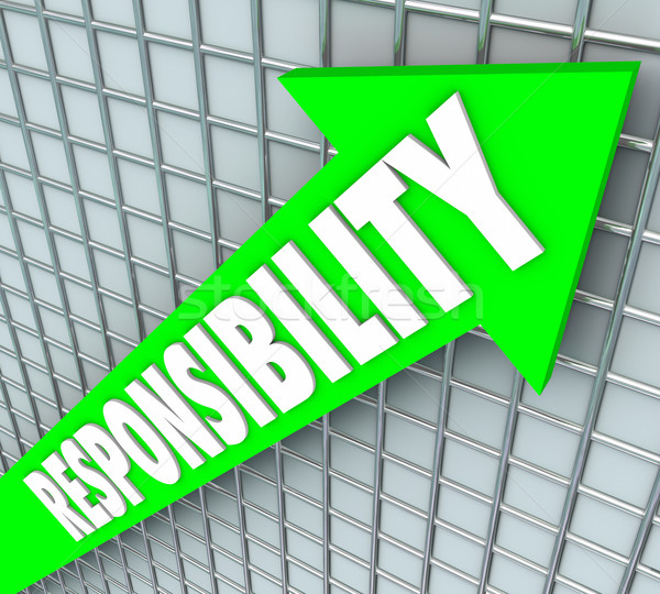 Responsibility Word Green Arrow Rising Accepting Obligation Acco Stock photo © iqoncept
