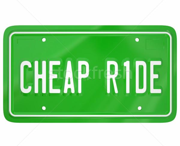 Goedkoop auto voertuig kentekenplaat prijs zuinig Stockfoto © iqoncept
