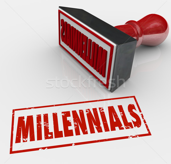 Millennials Word Stamped Grunge Style Young Generation X Y Kids Stock photo © iqoncept