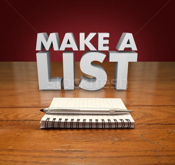 Make a List 3d Words Notepad Paper Pen Table Stock photo © iqoncept
