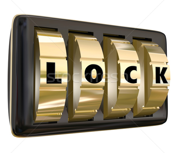 Lock Word Dials Secret Personal Sensitive Information Access Stock photo © iqoncept