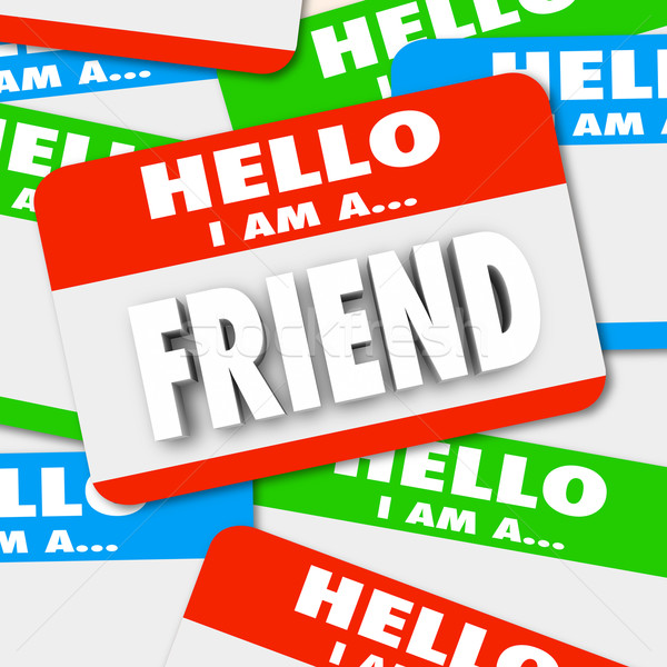 Friend Word Friendship Finding Companion Nametag Stickers Stock photo © iqoncept