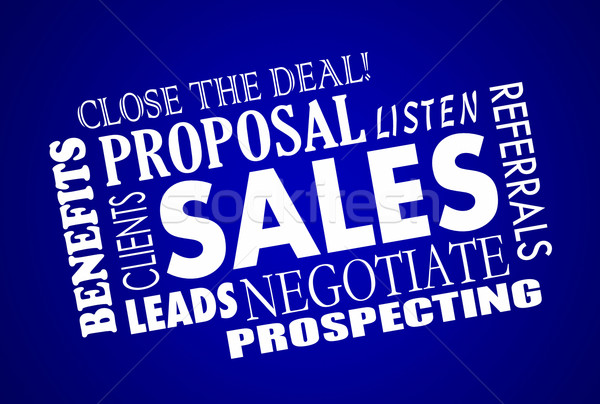 Sales Process Negotiation Leads Prospects Animated Word Collage Stock photo © iqoncept