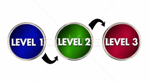 Levels 1 2 3 One Two Three Rising Up Improving 3d Illustration Stock photo © iqoncept