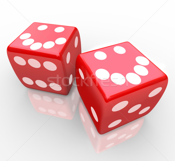 Smiley Faces on Red Dice Stock photo © iqoncept