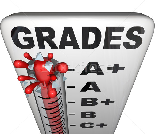 Stock photo: Grades on Thermometer Rising Past A+ Perfect Score