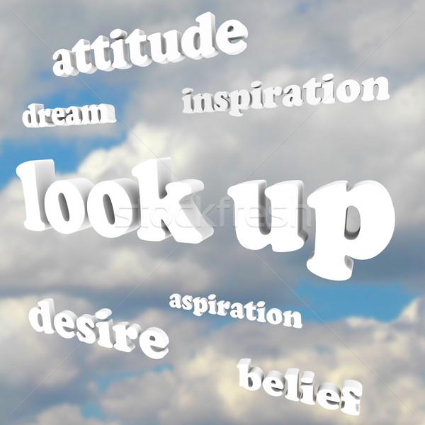 Aramak olumlu tutum sözler gökyüzü ifade çok Stok fotoğraf © iqoncept