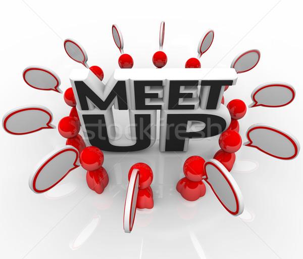 Meet-Up People Talking Meeting Speech Bubbles Stock photo © iqoncept