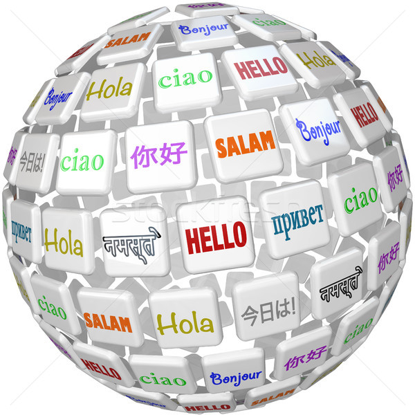 Hello Sphere Word Tiles Global Languages Cultures Stock photo © iqoncept