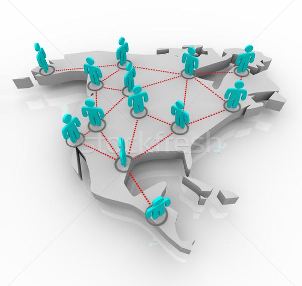 észak Amerika hálózat emberek térkép áll Stock fotó © iqoncept