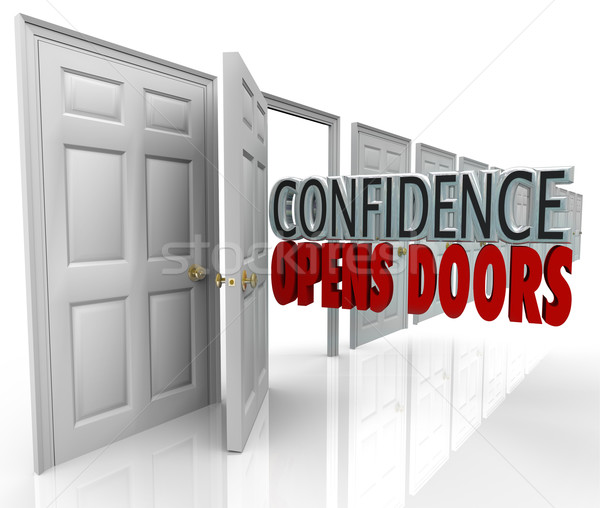 Confidence Opens Doors Words in Doorway Stock photo © iqoncept