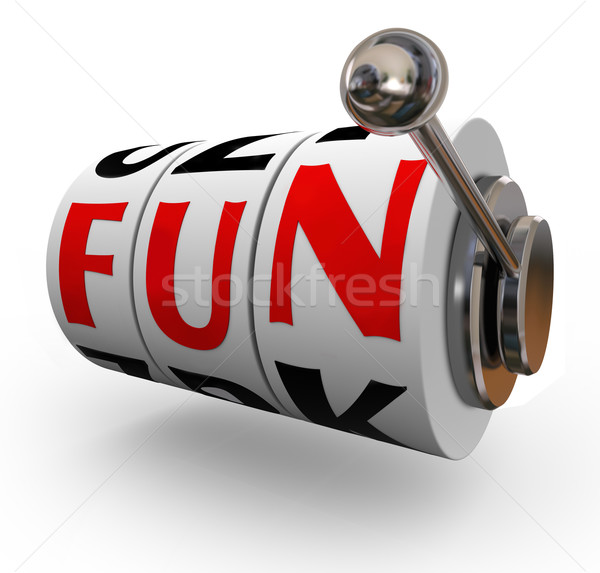 Fun Word Slot Machine Wheels Enjoyment Entertainment Stock photo © iqoncept