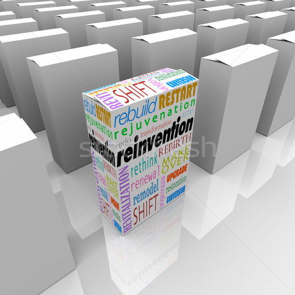 Stock photo: Reinvention One New Product Box Best Competitive Advantage