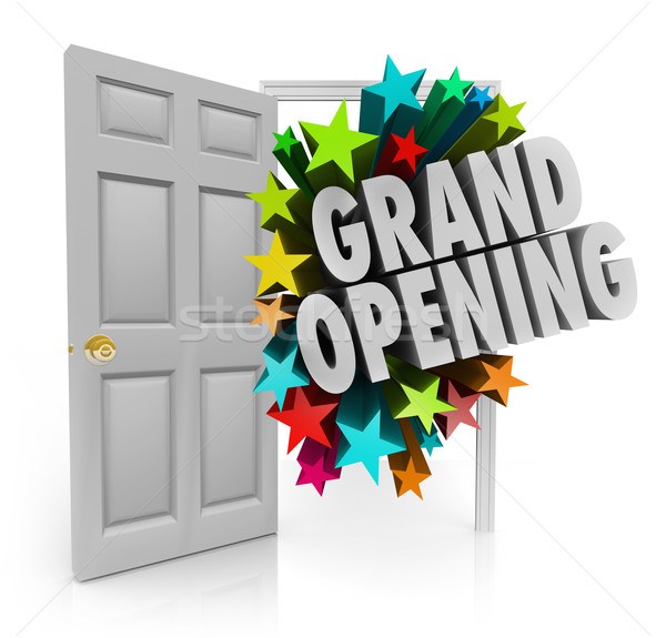 Grand Opening Words Stars Open Door Big Sale Invitation Stock photo © iqoncept