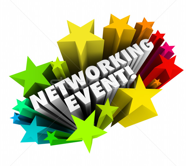 Networking Event Stars Words Invitation Meeting Business Minglin Stock photo © iqoncept