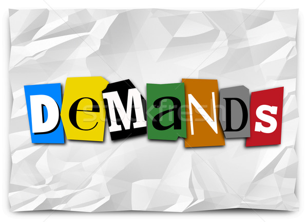 Demands Word Cut Out Letters Ransom Kidnapping Note Message Stock photo © iqoncept