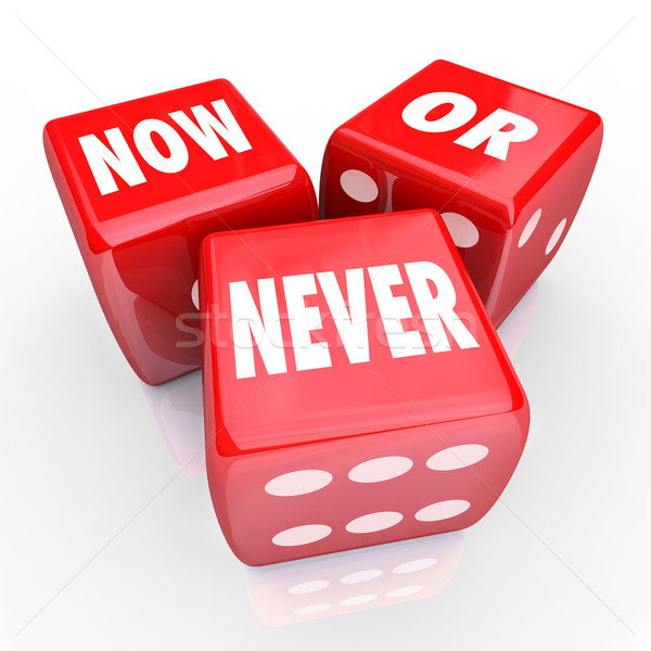 Now Or Never Three 3 Red Dice Act Limited Offer Opportunity Stock photo © iqoncept
