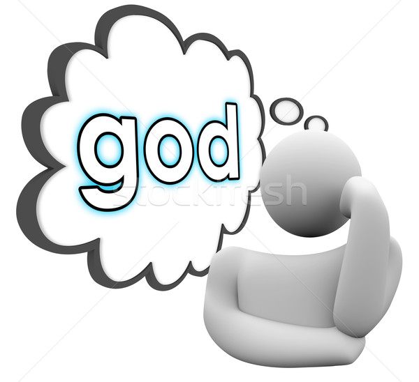 God Thinker Thought Cloud Faith Religion Belief Stock photo © iqoncept