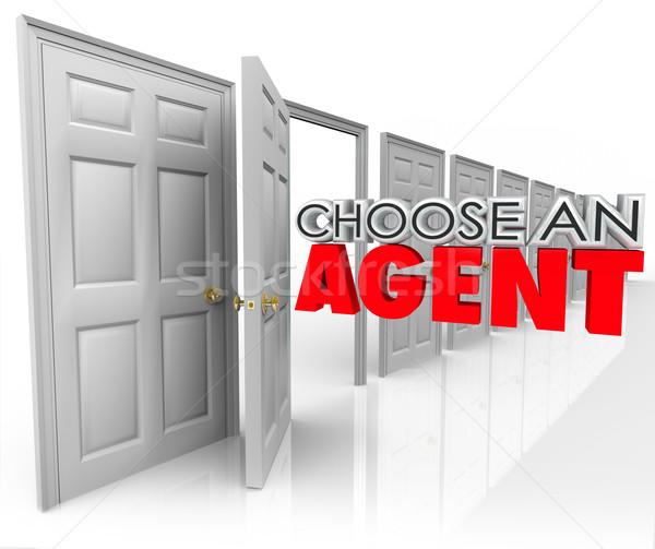 Choisir agent 3D mots porte ouverte Photo stock © iqoncept