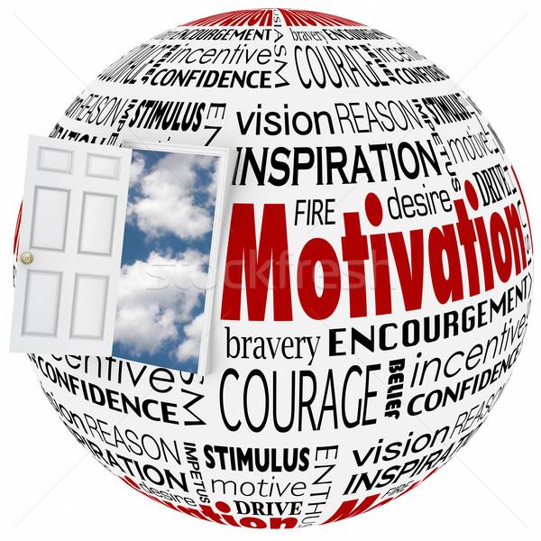 Motivazione parola mondo porta aperta opportunità ispirazione Foto d'archivio © iqoncept