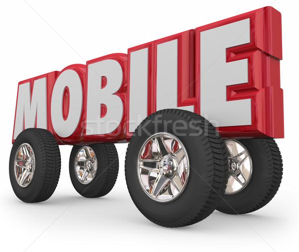 Mobile Vehicle Car Truck Automobile Transportation Travel Moveme Stock photo © iqoncept