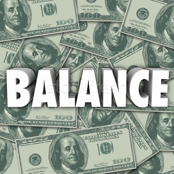 Equilibrio soldi banca conto bilancio contabilità Foto d'archivio © iqoncept