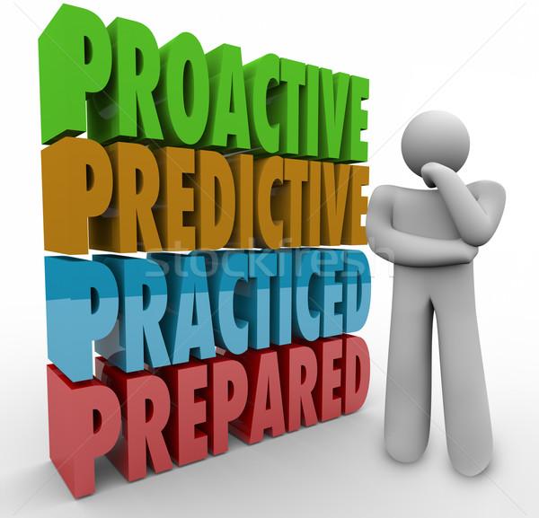 Proaktív előkészített gondolkodó 3D szavak gondolkodik Stock fotó © iqoncept
