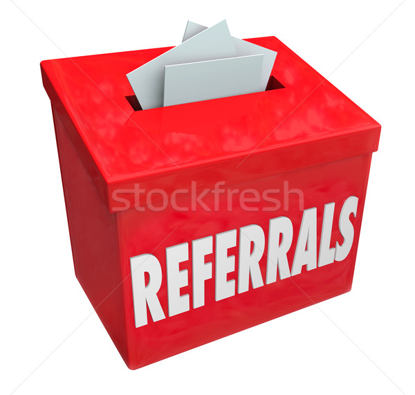 Referrals Box Collecting Word of Mouth Customers Stock photo © iqoncept