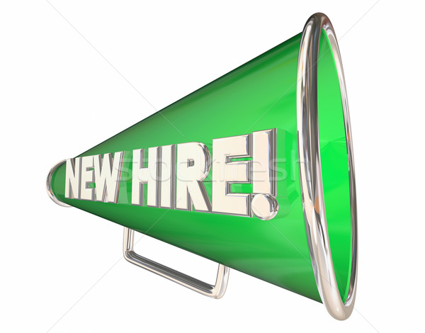 New Hire Bullhorn Megaphone Employee Welcome 3d Illustration Stock photo © iqoncept