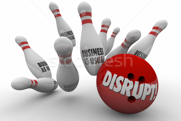 Disrupt Business As Usual Change Improve Bowling Strike 3d Illus Stock photo © iqoncept