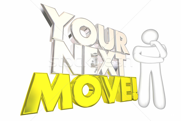 Your Next Move Strategy Plan Thinking Person 3d Illustration Stock photo © iqoncept