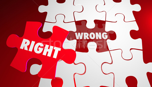 Right Vs Wrong Correct Accurate Puzzle Pieces 3d Illustration Stock photo © iqoncept