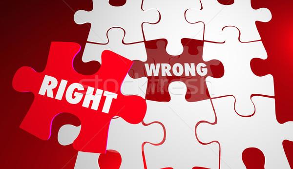 Vs verkeerd corrigeren nauwkeurig puzzelstukjes Stockfoto © iqoncept