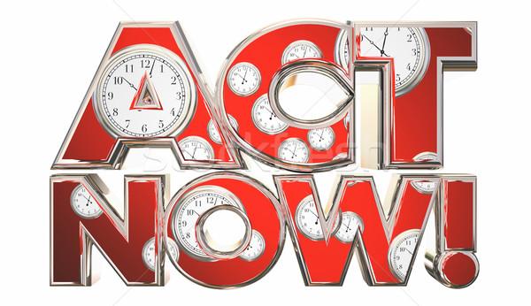 Akt teraz połączenia działania zegary czasu Zdjęcia stock © iqoncept