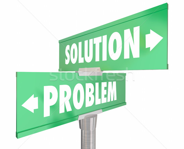 Problem Vs Solution Two 2 Way Street Road Signs 3d Illustration Stock photo © iqoncept