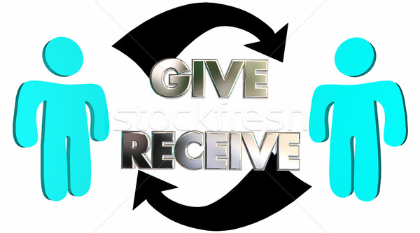 Give Receive Donate Get Take Arrows People 3d Illustration Stock photo © iqoncept