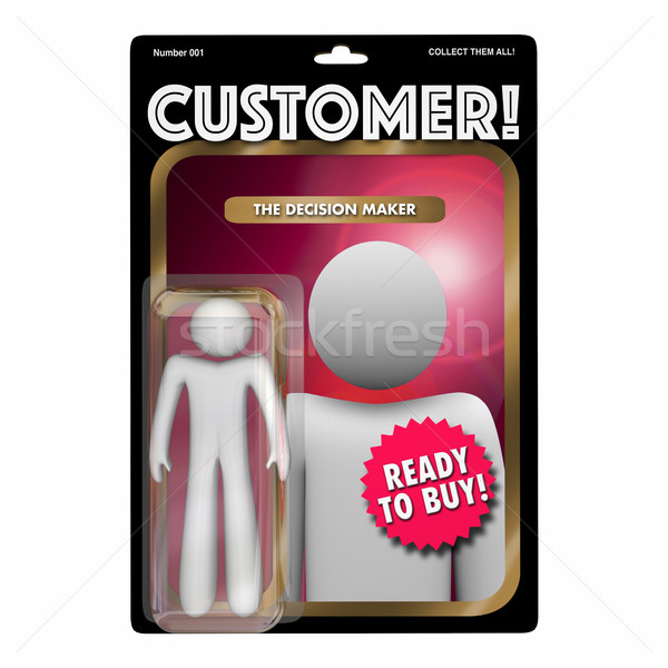 Customer Action Figure Toy Find New Client Buyer 3d Illustration Stock photo © iqoncept