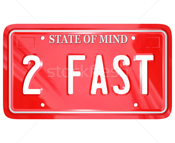 2 Fast Words on Red Vanity License Plate Speedy Driver Stock photo © iqoncept