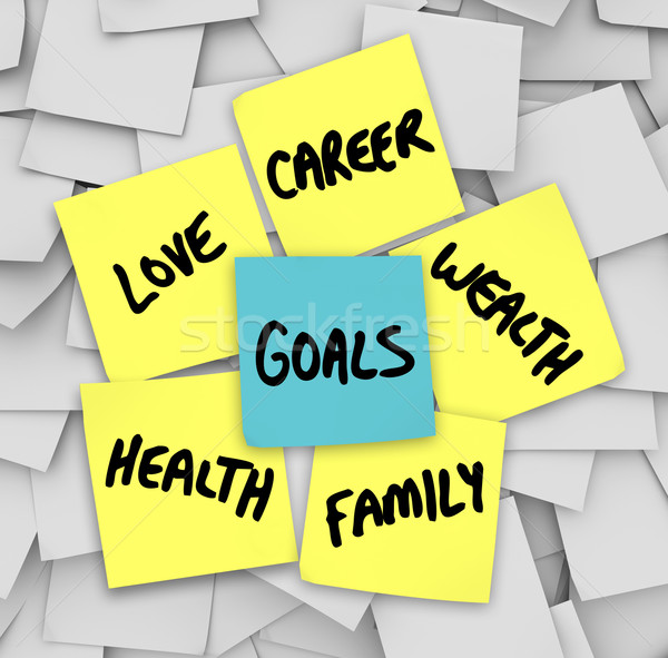 Goals on Sticky Notes Health Wealth Career Love Stock photo © iqoncept