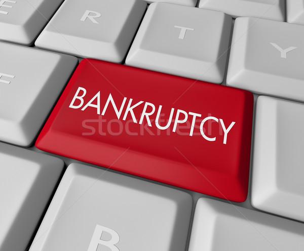 Csőd számítógép kulcs billentyűzet olvas pénz Stock fotó © iqoncept