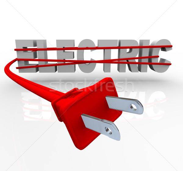 Elétrico poder cordão palavra vermelho negócio Foto stock © iqoncept