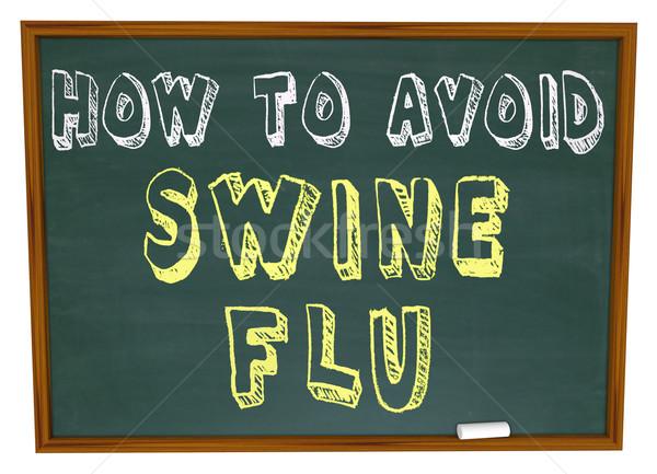 Sertés influenza szavak tábla írott orvosi Stock fotó © iqoncept
