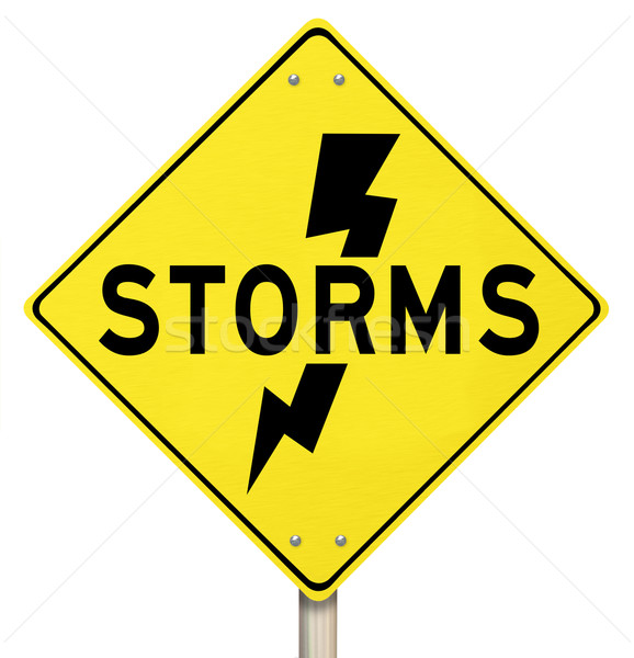 Storms Yellow Warning Sign Lightning Dangerous Forecast Stock photo © iqoncept