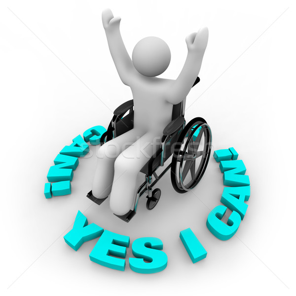 Determined Wheelchair Person - Yes I Can Stock photo © iqoncept