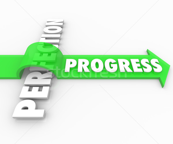 Progress Arrow Jumps Over Perfection Move Forward Improve Stock photo © iqoncept